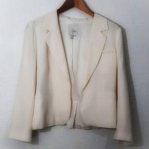 Joie Ivory Silk 3/4 Sleeve Open Crop Blazer 10